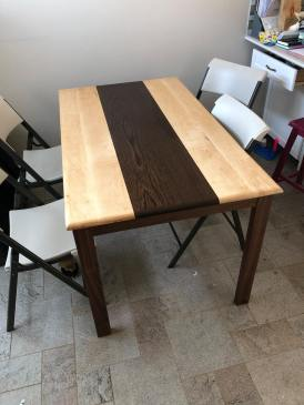 A new dinner table, hard maple and wenge top over a black walnut base
