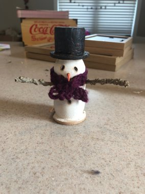 Lathe turned snowman I made with the girls as Christmas ornaments